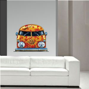 Koolart Large 70cm Retro Hippy ORANGE VW Camper Van Wall Art